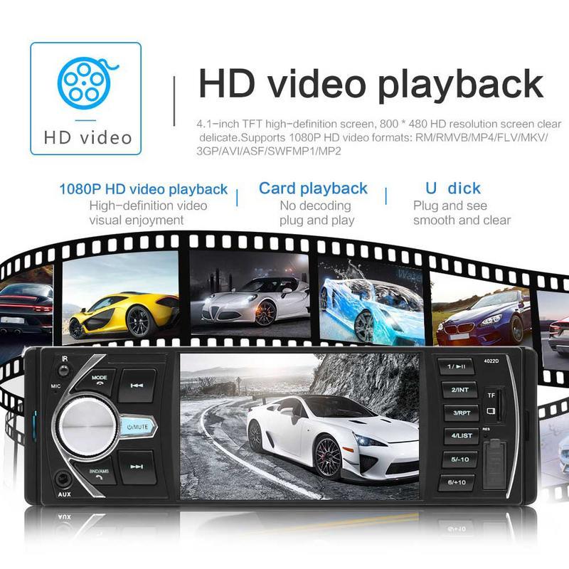 4.1 pouces Double 1 DIN voiture MP5 lecteur MP3 Bluetooth écran tactile stéréo Radio caméra Auto Radio musique jouer