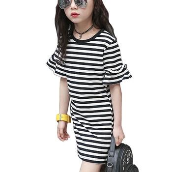 03c6842a2 Vestido de verano para niñas vestidos de manga de volantes a rayas grandes  vestidos de fiesta para niños adolescentes ropa de edad 3 4 6 8 10 12 14  años