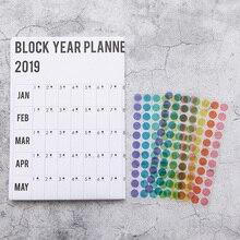 Kalender, Planer Und Karten 2019 Jährlich Mit Aufkleber Punkte Poster Stil Veranstalter Studie Agenda Papier Jährliche Zeitplan Wand Planer Kalender Schreibwaren Büro
