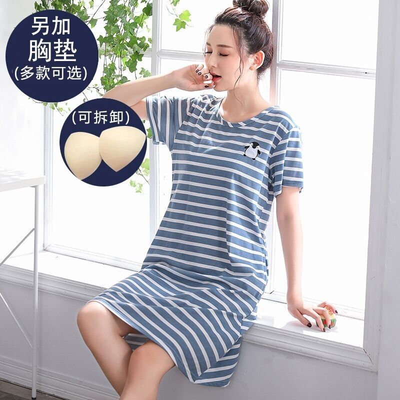 Summer NEW Cotton Women   Nightgowns   Knee-Length Nightdress Casual Stripe   Sleepshirts   Sleeping Dress Big Size XXXXL Home Clothing