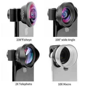 Image 4 - PHOLES 4 In 1 Corredo Dellobiettivo di Macchina Fotografica Del Telefono Cellulare Grandangolare Teleobiettivo Macro Lenti Fisheye Per Il Iphone Xs Max X 8 Huawei P20 Pro