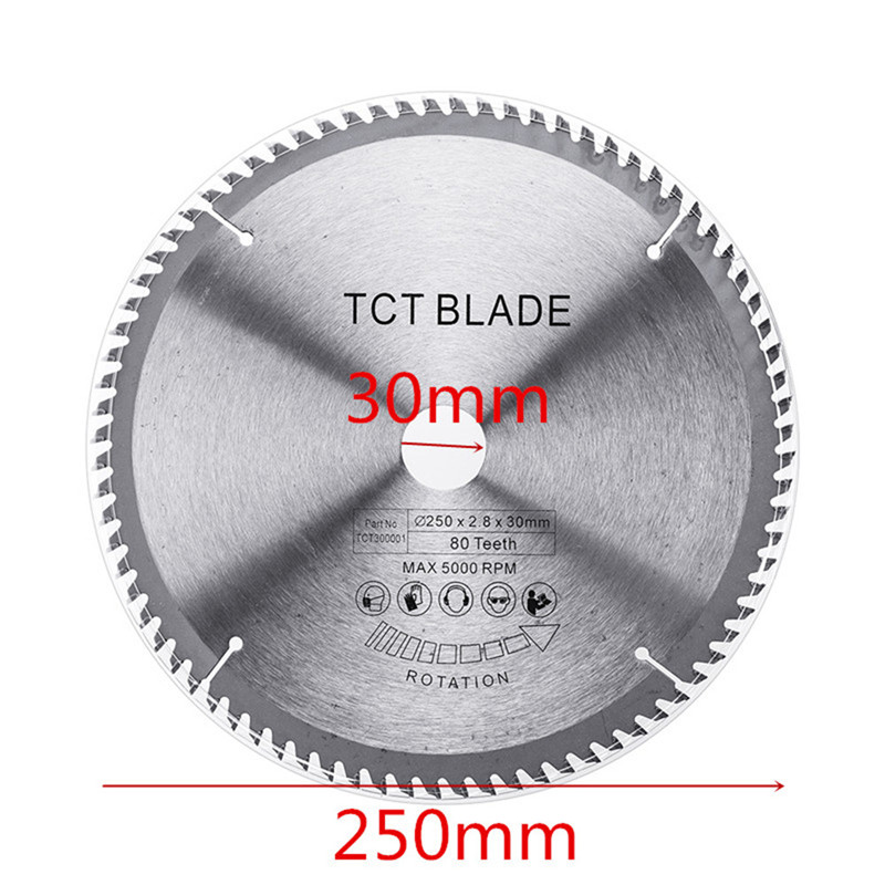 Multi-functional Circular Saw Blade Wood Aluminium 250x2.8x30x80T TCT Hard Alloy Saw Blade For Cutting Steel Aluminum Iron Wood