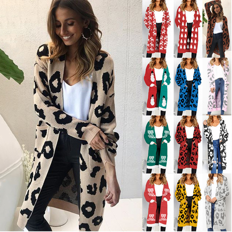 Womens Lady Cardigan Christmas Leopard Autumn Winter Pocket Knitted Long Sweater Tops Coat Warm Clothing 17 Color Knit Jacket