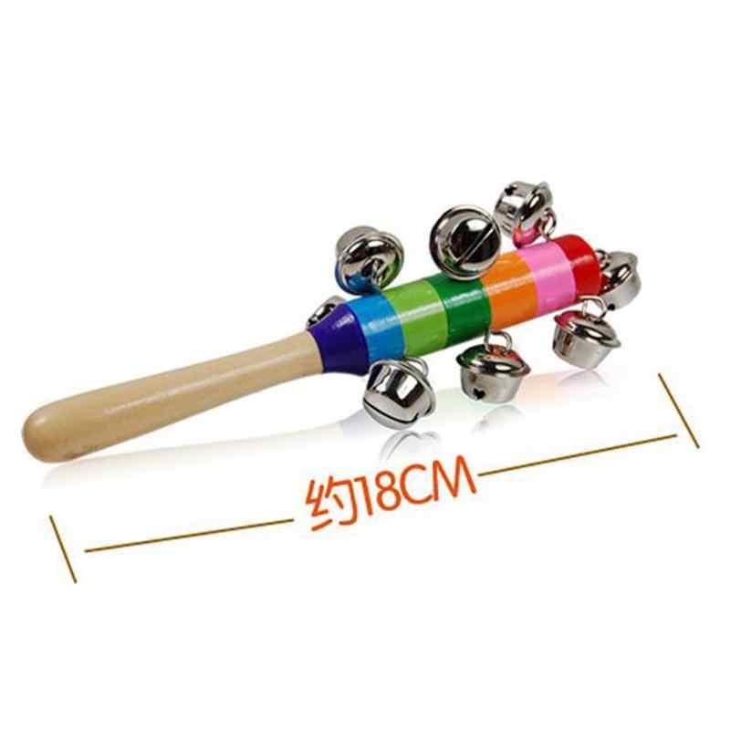 Sonido Handbell juguete Arco Iris mamá bebé sonajeros juguetes bebé cochecito cuna mango de madera campana palo agitador juguetes niños recién nacidos nuevo