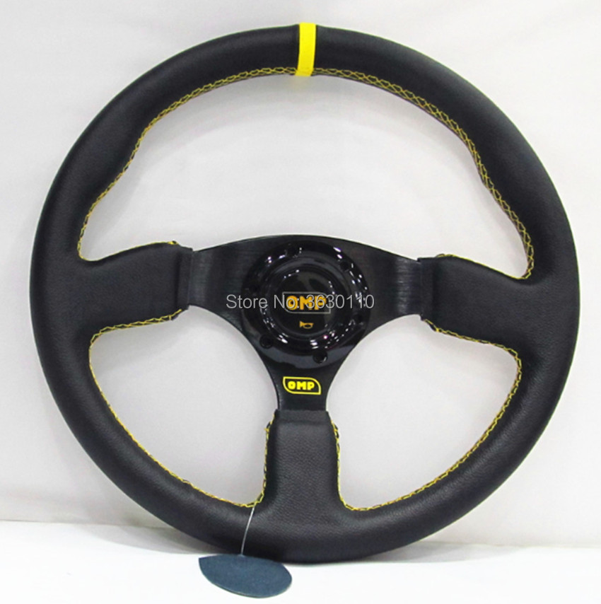 Universal 14inch 350mm OMP Steering Wheel leather Steering wheels Universal 14inch 350mm OMP Steering Wheel leather Steering wheels