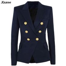Fashion blazer jacket fall winter womens suit double breasted metal lion buttons slim overcoat Xnxee