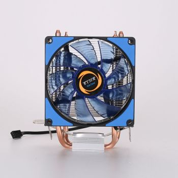 CPU Cooler 2 Heatpipes Blue LED CPU Fan Cooling Fans Computer Fan Coppery Aluminum Heatsink for LGA 775/115x/AM2/3/4 x79