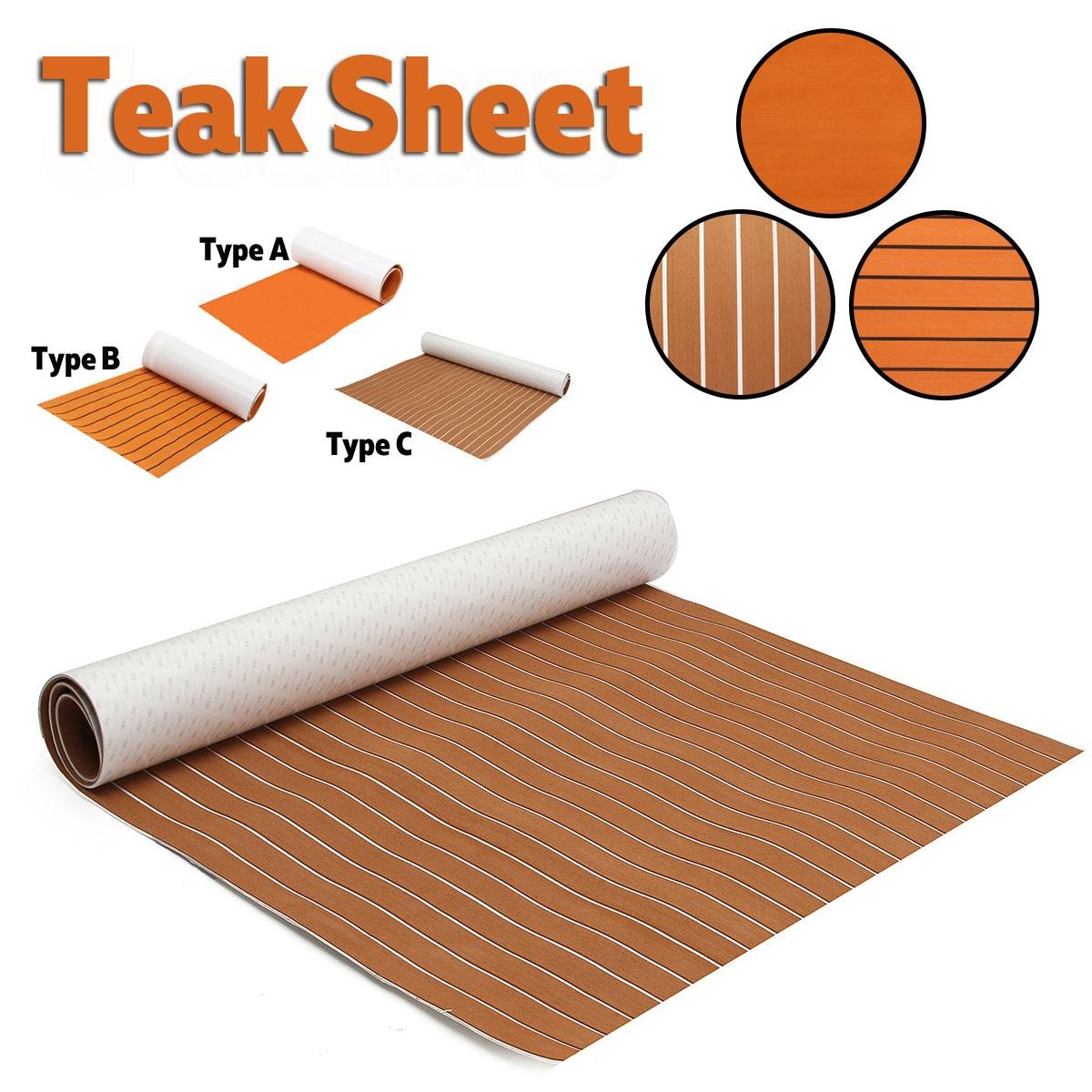 Self Adhesive EVA Boat Yacht Marine Flooring Faux Imitation Teak Decking Sheet Pad 1200x2400x5mm Foam Floor Mat Brown