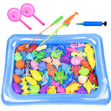 30Pcs Magnetic Fishing Game Educational with Fishing Pole Pod and Small Pond Table Board Game for Children - Upgrade Version(China)