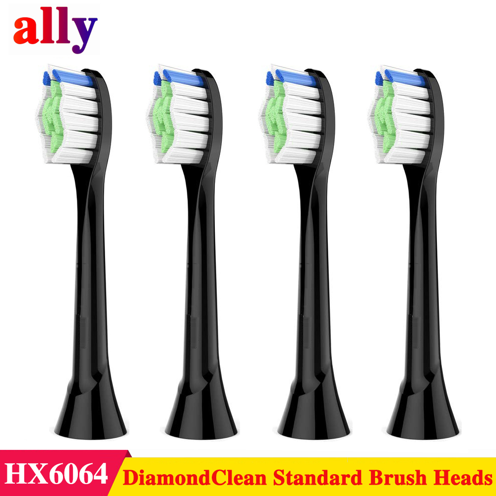 Ally For Philips Sonicare DiamondClean Replacement Toothbrush Heads, HX6064/95 Black Electric Toothbrush,4 Count
