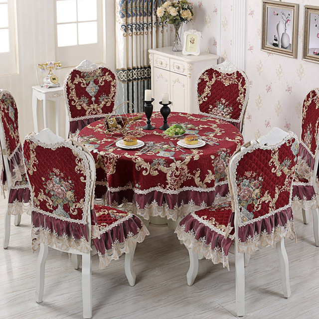 Rose Chenille Tablecloth & Chair Cushion Cover