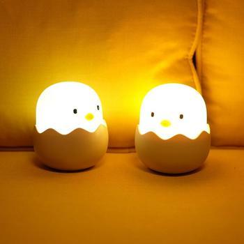 סיליקון עוף ביצת מגע חיישן LED לילה אור ילד תינוק ילדי USB תשלום אווירה רומנטית לילה מנורה