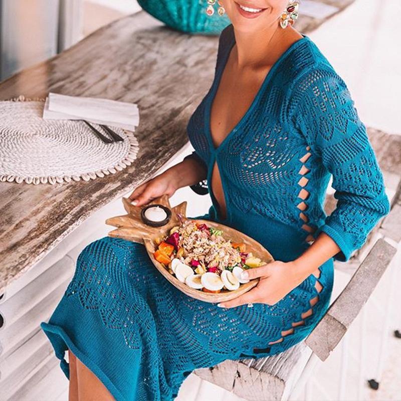 Curcuma à manches longues plage couvrir tricot maillot de bain couvertures été 2019 mode saida de plage robe femme maillots de bain femmes bikini