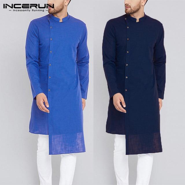 Streetwear Kurta Suits Indian Clothes Men Dress Shirts Long Sleeve Mandarin  Pullovers Islamic Clothing Chemise Kurtas Kaftan-in Casual Shirts from Men s  ... cef54f1f390