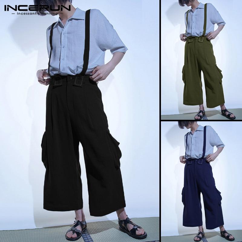 Harajuku Hiphop Overalls 2019 Men Rompers Jumpsuits Pant Bib Cotton Wide Legs Pant Baggy Pockets Button Ankle Length Hombre