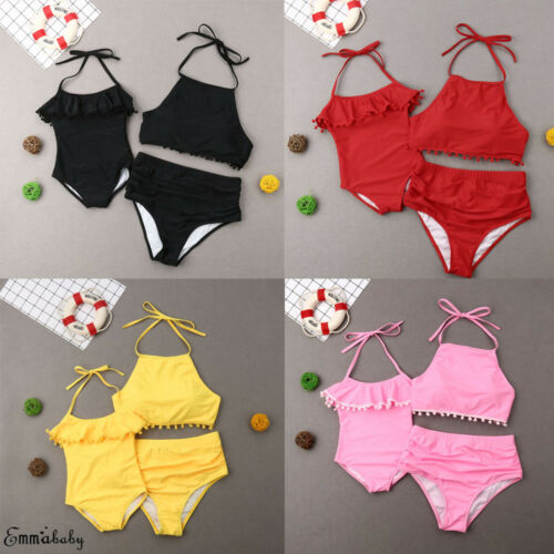 2019 Brand Family Matching Womens Mom Kids Baby Girls Swimwear Bikini Summer Candy Color Tassel Bathing Suit Swimwear Swimsuit
