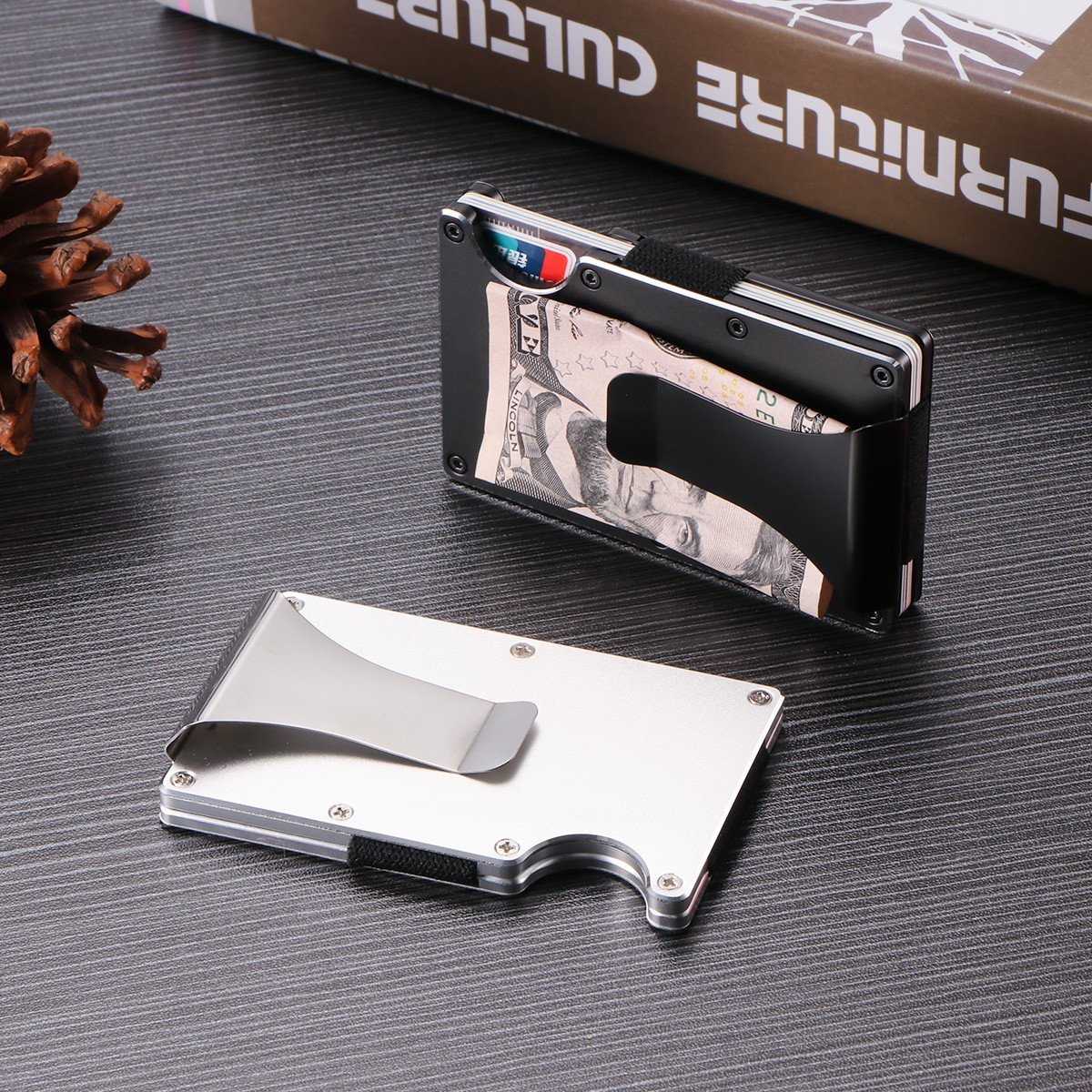 Cool Dudes Dogs in Outfits Satin Chrome Plated Metal Money Clip