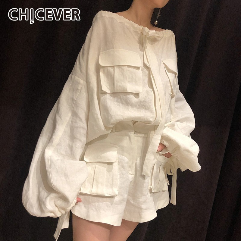 CHICEVER Summer Vintage Solid White Women Two Piece Set Slash Neck Lantern Sleeve Pullover With Button Fly Pockets Shorts Sets