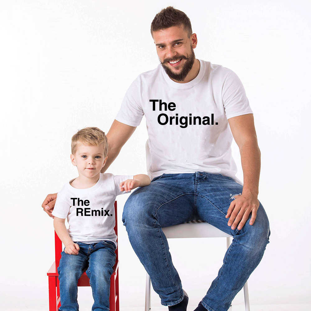 1pcs Family Look Fashion Family Matching Outfits Letter Printed The  Original Remix Family T shirts Father and Son Clothes| | - AliExpress