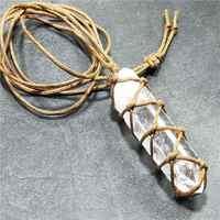 Home Decarative Craft Stone Natural White Amethyst Quartz Crystal Pendant Healing DT Gemston Wand Reiki Hangings