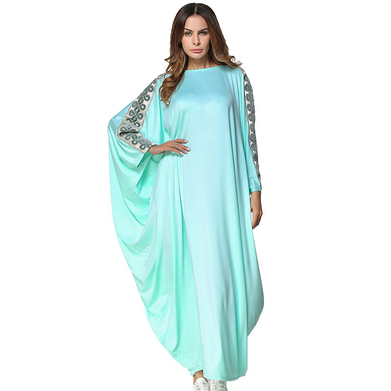 5c76d024e88 New Muslim Abaya Dress embroidery bat sleeve wear women caftan Middle East  Long Robe Gowns Ramadan