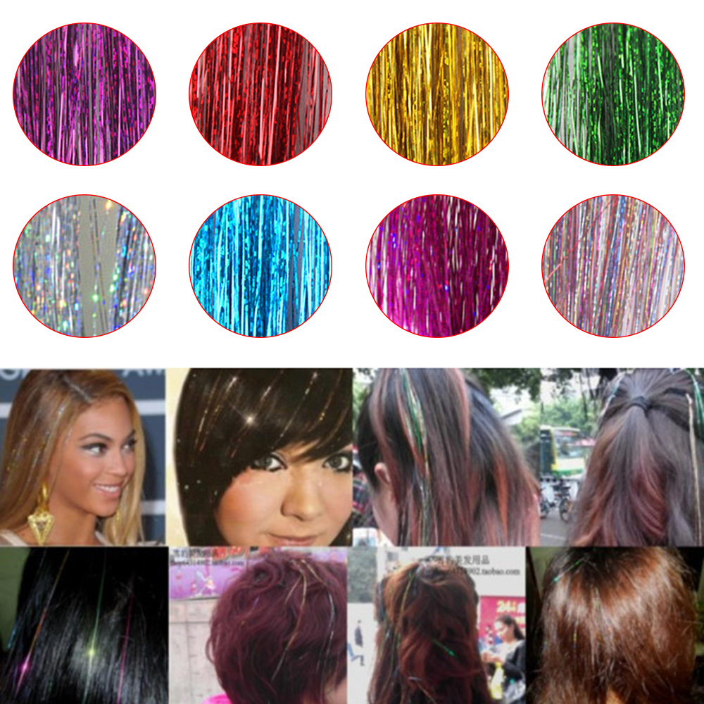 Bling Hair Tinsel Sparkle For Synthetic Hair Extension Glitter Rainbow Hair Strands Party Accessories Hairstyling