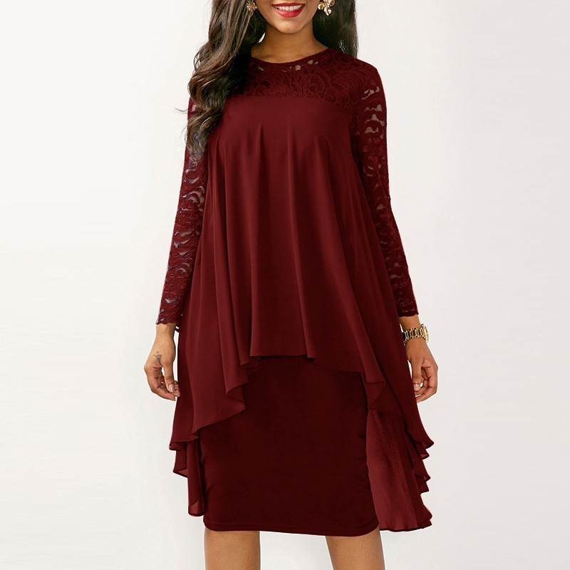 <font><b>5XL</b></font> Plus Size Autumn <font><b>Dress</b></font> Women <font><b>Sexy</b></font> Party Ruffles Cover Lace <font><b>Dress</b></font> Elegant Slim Chiffon Patchwork Irregular Hip <font><b>Dresses</b></font> Blue image