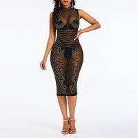 Sexy Dress Women Sequins Black Mesh See Through Sleeveless Clubwear Summer High Waist Slim Female Casual Stretch Bodycon Dresses
