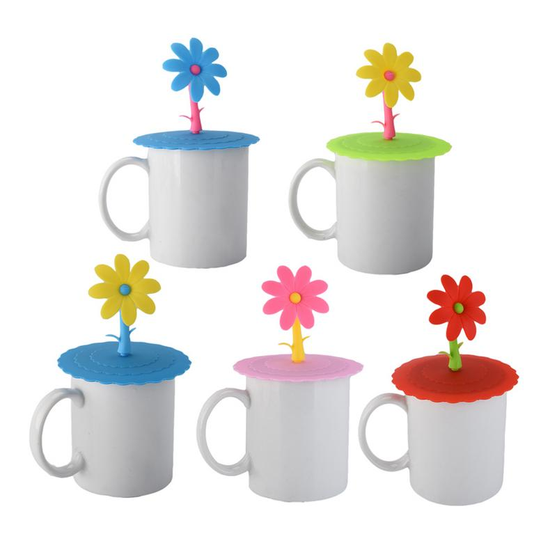 Fashionable Creative Cups Covers Food-grade Silicone Cup Cover High Quality Heat Resistant Safe Healthy Cute Flowers Shape Lid
