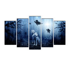 HD 5 piece canvas wall art painting Pictures Arctic Wolf Modular For Living Room Impressionism Decorative Picture Home Decor