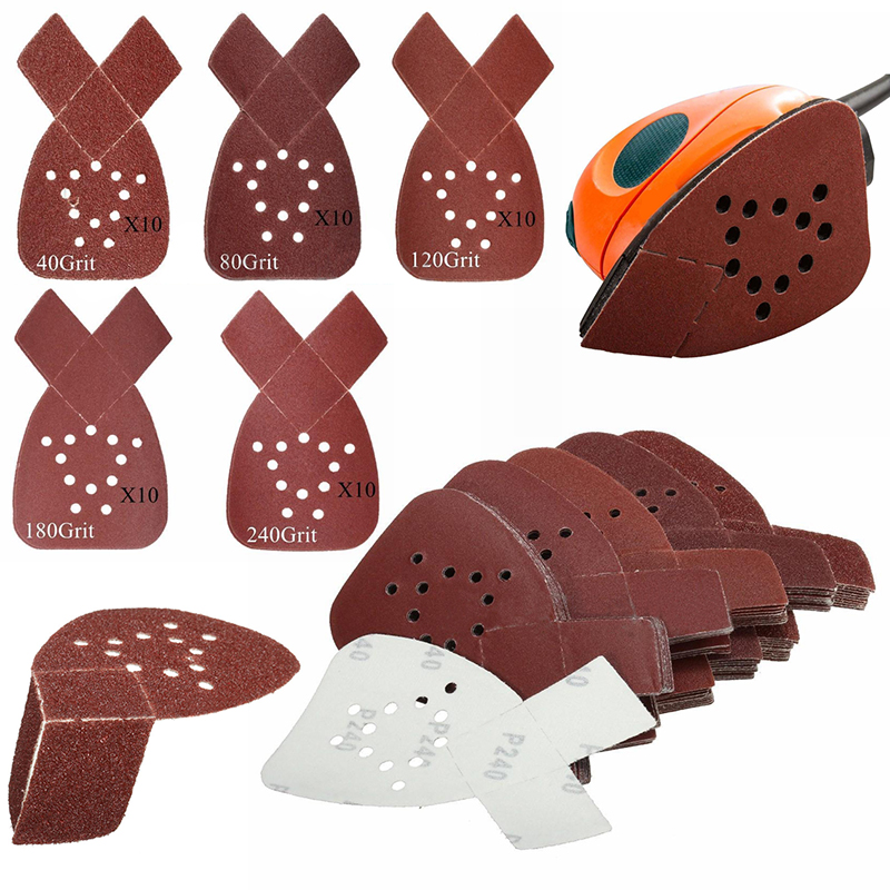50pcs/set  40/80/120/180/240Grit Mouse Sanding Sheets Sander Pads For Black & Decker