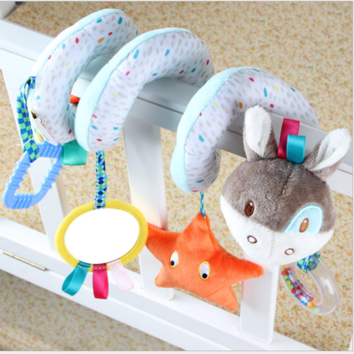 Cute Baby Infant Kid Early Learn Fuzzy Plush Animal Stroller Bed Hanging Bell Play Toy Gift Baby Rattles
