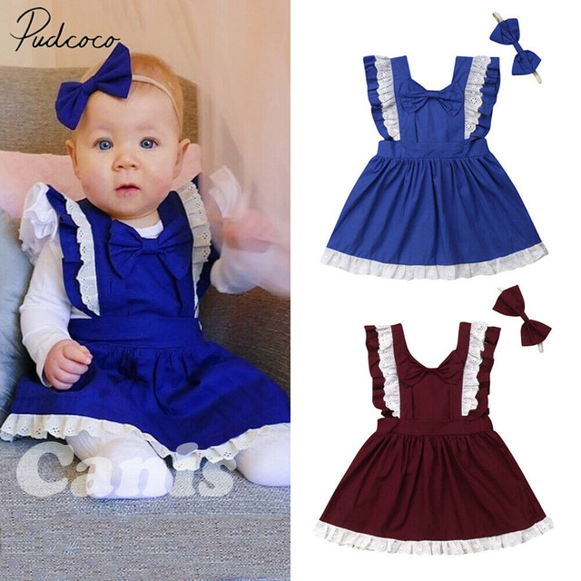 547c833d5f4 2019 Children Summer Clothing Kids Baby Girl Casual Dress Headband Clothes  2pcs Ruffles Sleeve Lace Bow-knot Party Dress 1-6Y