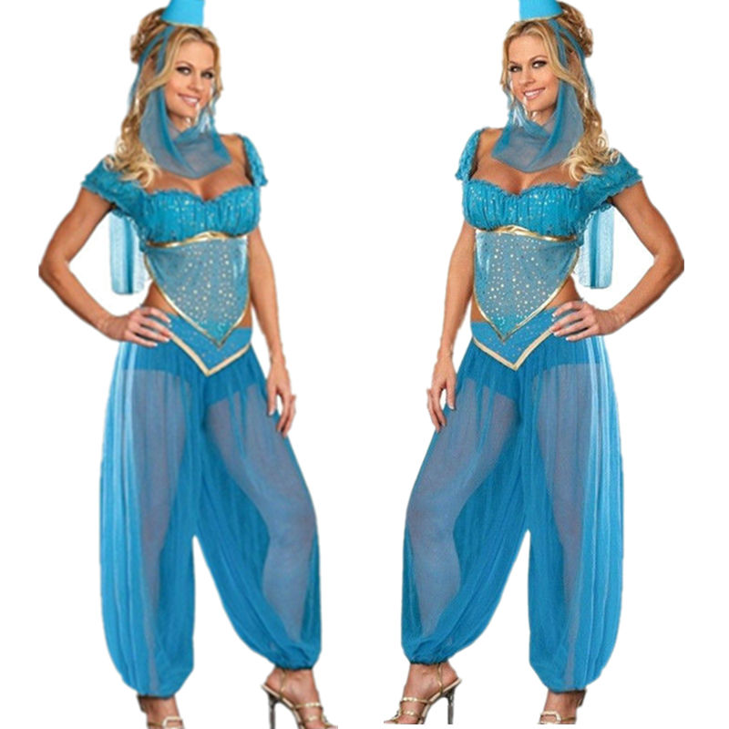 Women Sexy Mystical Genie Jasmine Princess Costume Adult Belly Dance Fancy Dress