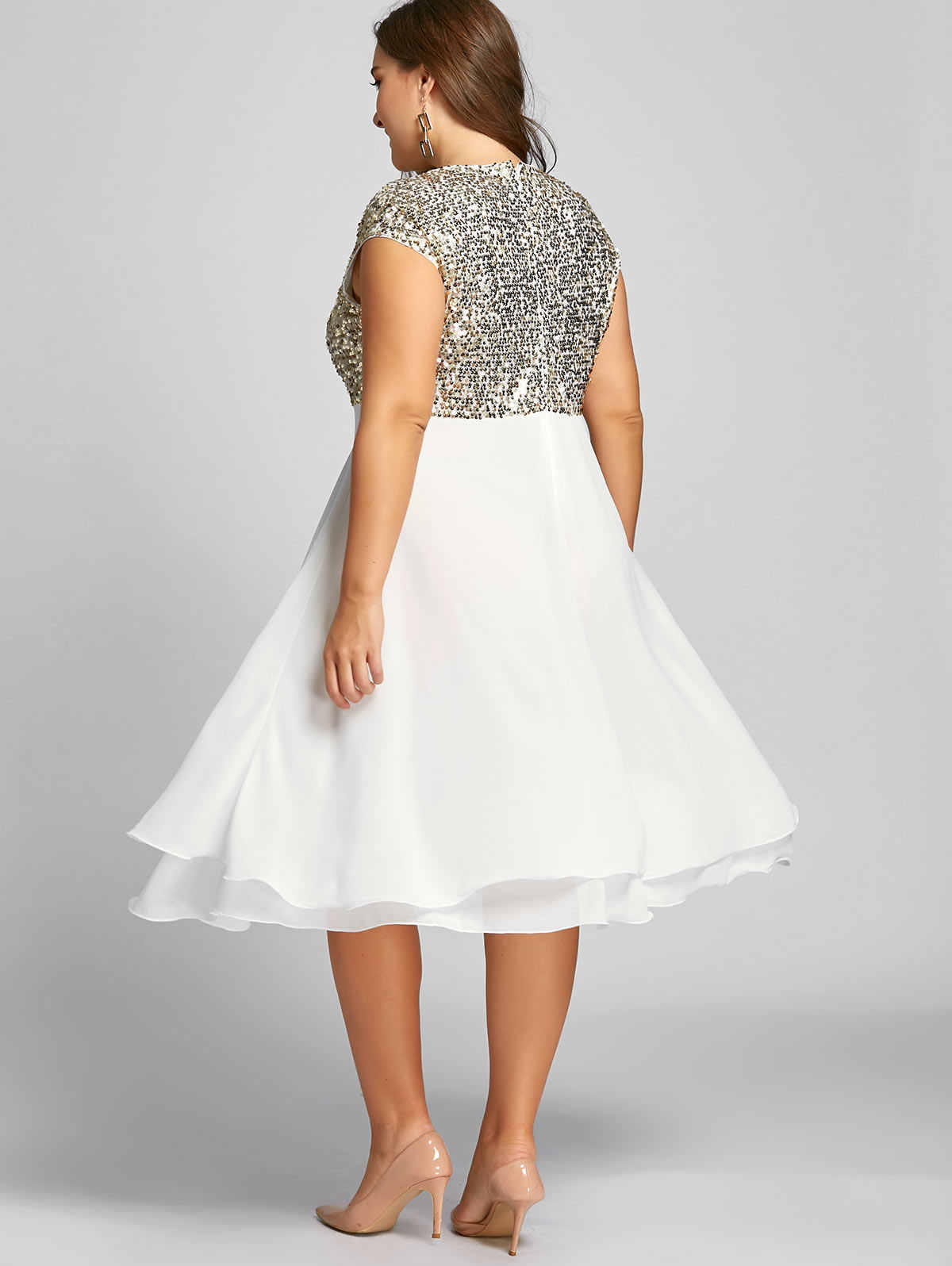 Wipalo Plus Size 5XL Sequin Sparkly Dress Women Flounce Robe Female Short  Sleeves Party Dress Ball Gown Knee-Length Vestidos