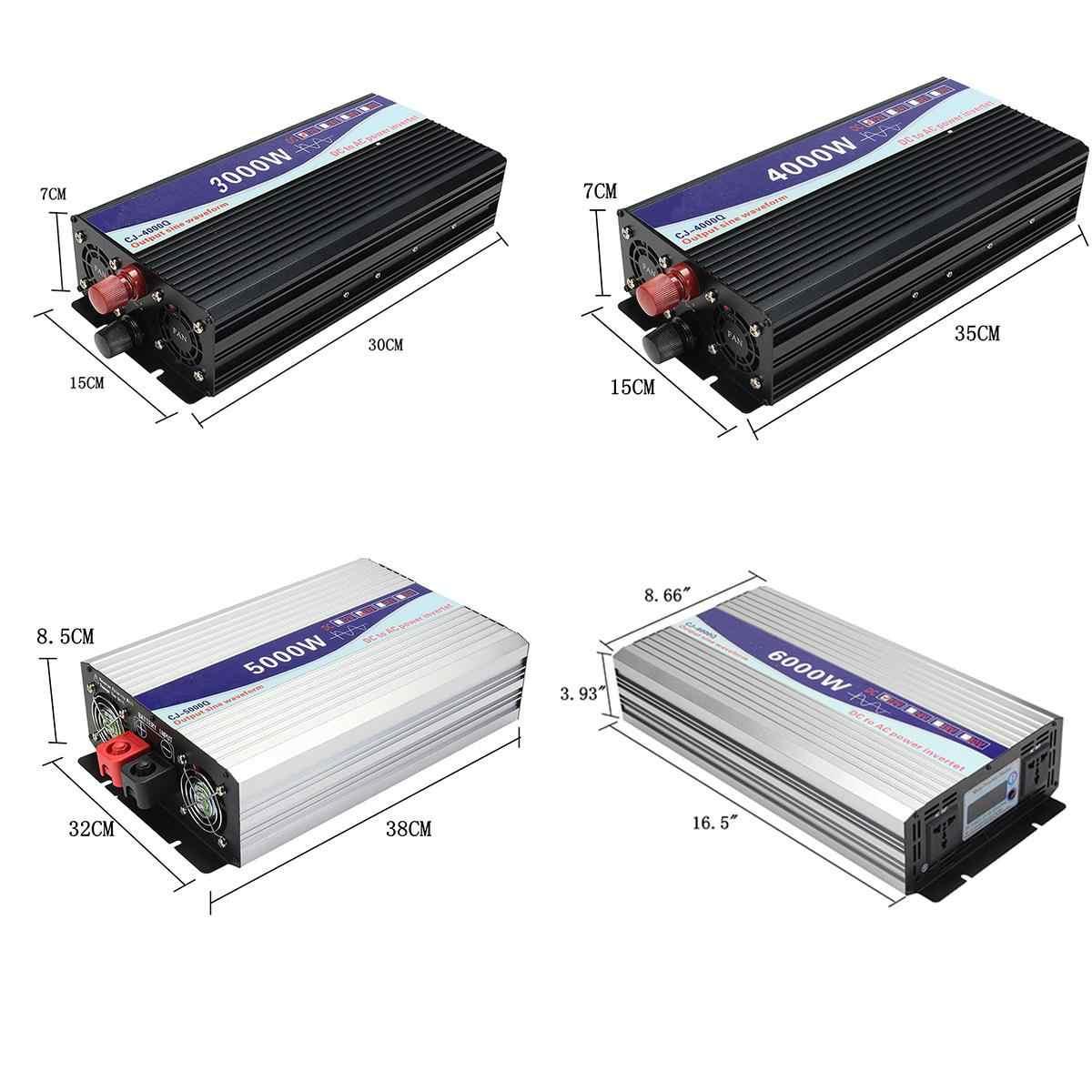 Инвертор 12 V/24 V к переменному току 220 V 3000/4000/5000/6000 W Напряжение трансформатор с немодулированным синусоидальным сигналом Мощность преобразователь Светодиодный Дисплей