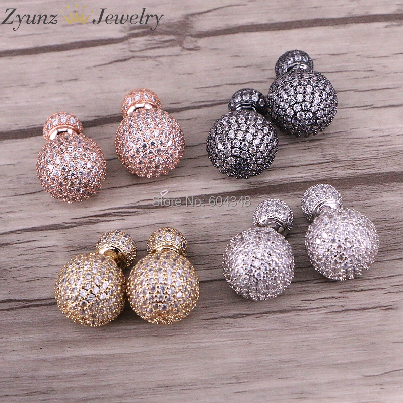 4 Pairs ZYZ332 4972 Round CZ Micro Pave Stud Earrings Double sided Paved Crystal Ball Earrings