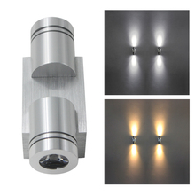 1pcs 2W LED Wall Sconce AC85-265V Indoor Up Down Wall Lights Bedroom Bedside Decoration Aluminum Lamp for home  Lighting Fixture недорого