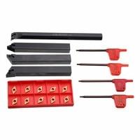 10PCS Alloy Steel DCMT0702 Diamond Shape Carbide Inserts + 4PCS 12mm Lathe Boring Bar Turning Tool Holder + Wrench Set
