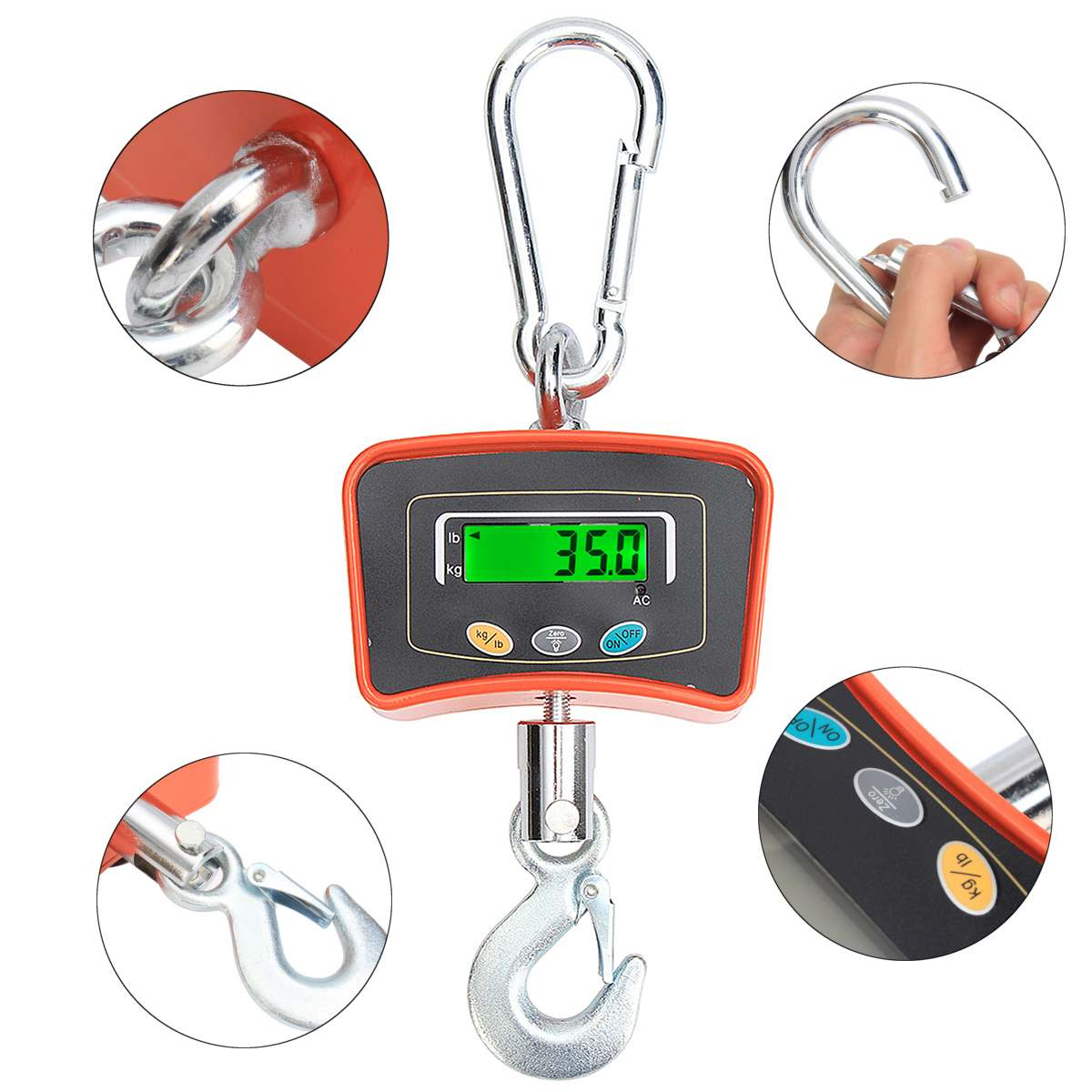 500KG/1100 LBS Digital Crane Scale 110V/220V Heavy Industrial Hanging Scale Electronic Weighing Balance Tools - 3