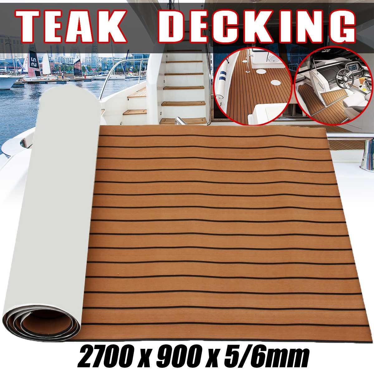 Self-Adhesive 900x2700x5/6mm EVA Foam Faux Teak Decking Sheet Dark Brown Marine Boat DIY Protective Floor CarpetSelf-Adhesive 900x2700x5/6mm EVA Foam Faux Teak Decking Sheet Dark Brown Marine Boat DIY Protective Floor Carpet