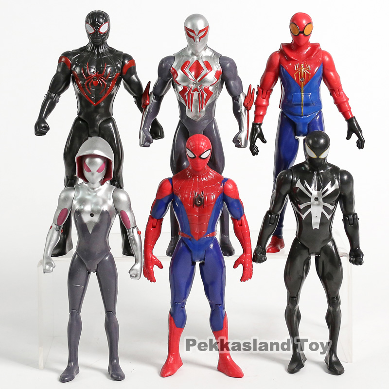 The Best Spider Man Into The Spider Verse Miles Morales Peter Parker Gwen Stacy Spiderman Pvc Action Figures Toys 6pcs/set Distinctive For Its Traditional Properties Action & Toy Figures