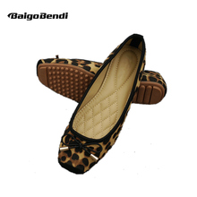 US 5-10 Leopard Print Flats Woman Square Toe Shallow Mouth Casual Bowknot Loafer Shoes Girls Light Weight
