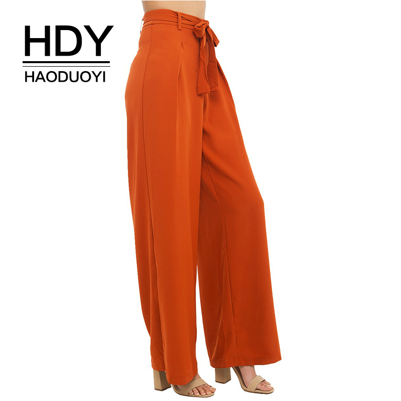 HDY Haoduoyi Women Orange Wide Leg Chiffon Pants High Waist Drawstring Front Trousers Palazzo OL Elegant Long Culottes Pants