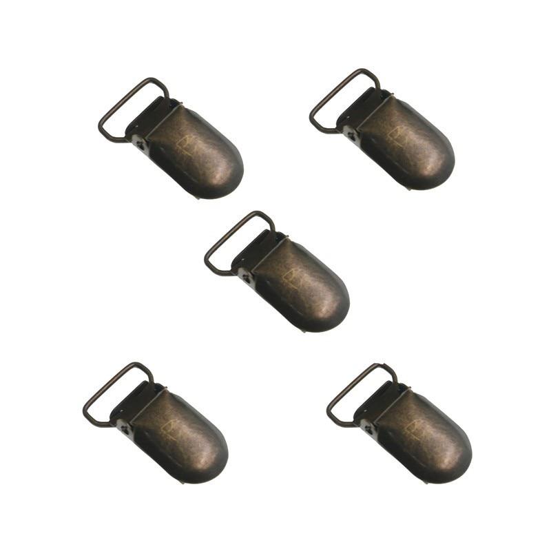 5pcs/lot Bronze Metal Pacifier Brace Clips 15 20mm Suspender Clips Bib Holder Antique Brass DIY Accessories
