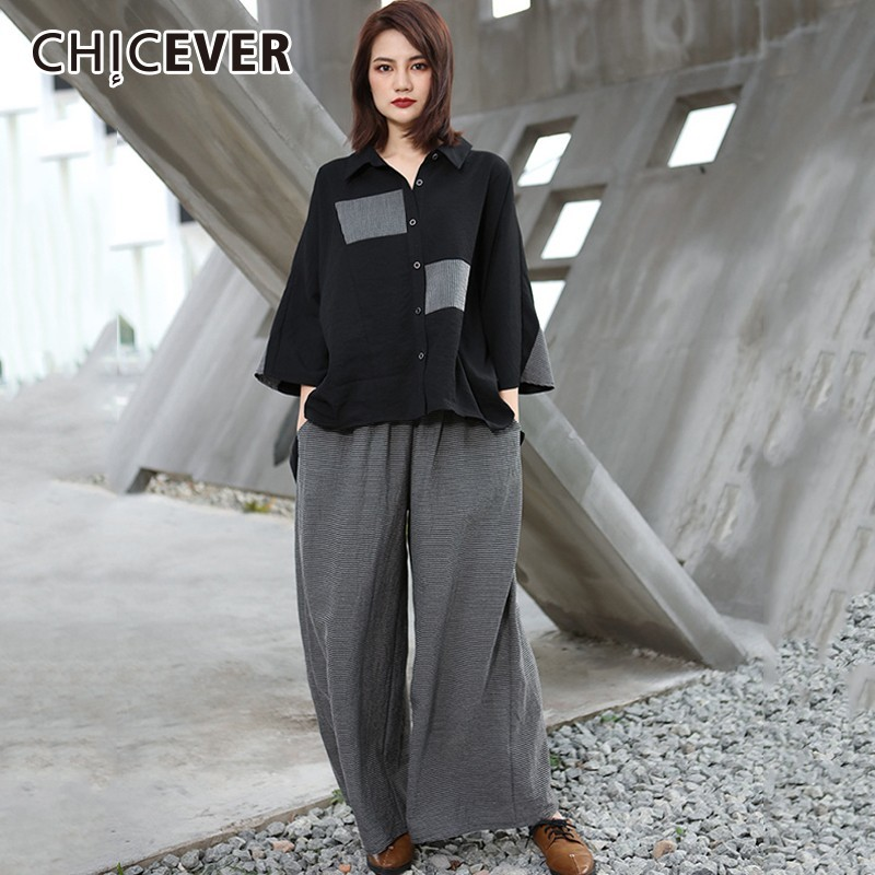 CHICEVER Patchwork Striped Women s Suits Three Quarter Sleeve Asymmetric Hem Blouse Tops Female Elastic Waist