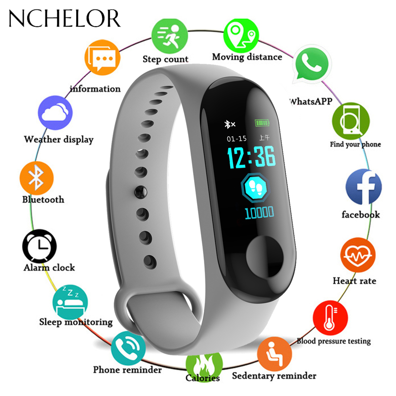 M3 Smart Watch Men Women Heart Rate Monitor Blood Pressure Fitness Tracker Smartwatch Sport Smart Clock Watch For IOS Android(China)