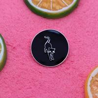 20pcs/lot Art Black White Brooches Cartoon Cat Enamel Pin for Kids Lapel Pin Hat Bag Pins Denim Jacket Women Brooch Badge Q1082
