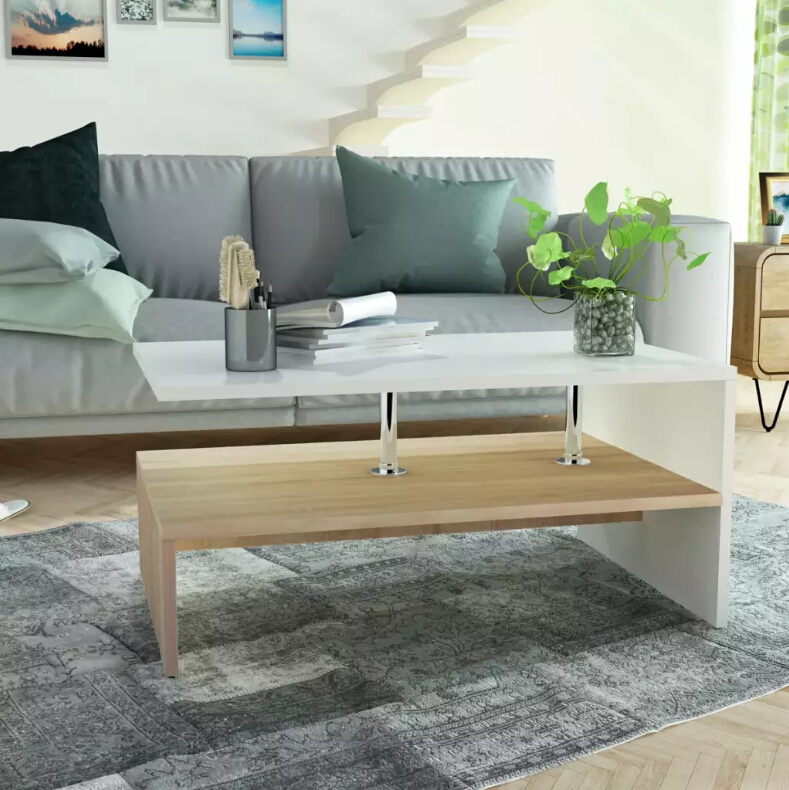 VidaXL Coffee Table Chipboard 90x59x42 Cm Oak And White Side Table With 2 Shelves Living Room Furniture Home Decoration