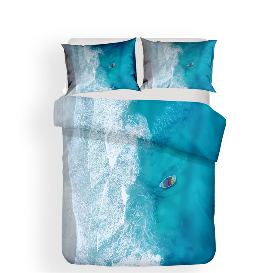 Image 2 - Bedding Set 3D Printed Duvet Cover Bed Set Beach Sea Wave Home Textiles for Adults Bedclothes with Pillowcase #HL17-in Bedding Sets from Home & Garden
